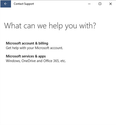 Le programme de support technique de Windows 10 Contact pose des questions qui vous dirigent vers le bon département.