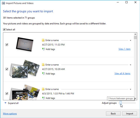 Windows offers groups of pictures based on the time and date you took them. You can review and modi
