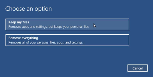 Unless you have a good reason, choose Keep My Files.