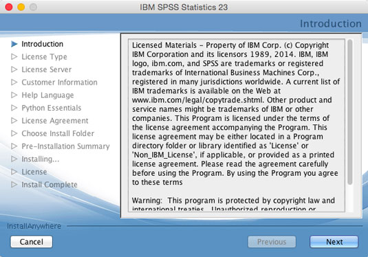 The first dialog box is a list of terms and conditions for installing SPSS.