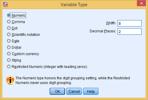 The Variable Type dialog box allows you to specify the type of variable you're defining.