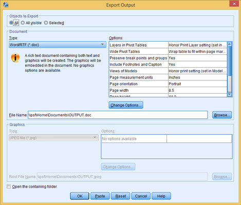 The main control window for generating output from SPSS Statistics Viewer.