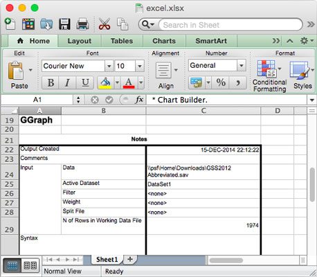 SPSS output as an Excel file.