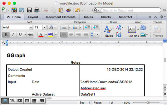 SPSS output as a Word/RTF file.