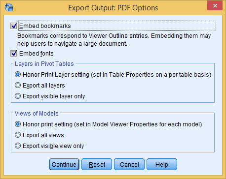The options for producing a PDF file.