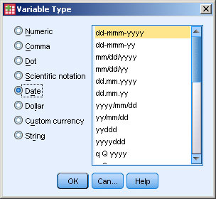 Select the data type and the ­format.