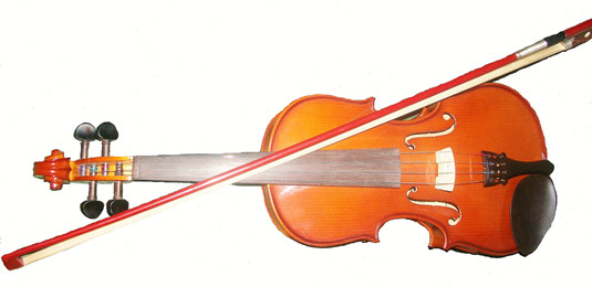 A violin with a bow. [Credit: <i></noscript>Source: Creative Commons</i>]&#8221; width=&#8221;535&#8243;/></p> <div class=