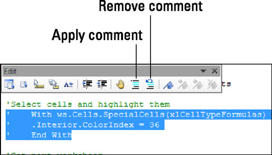 Use the Edit toolbar to apply comments to a block of code.