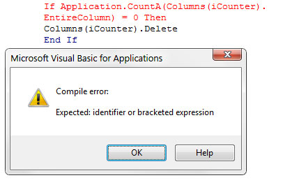 An unfinished line of code results in a jarring error message.