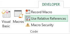 Recording a macro with relative ­references.