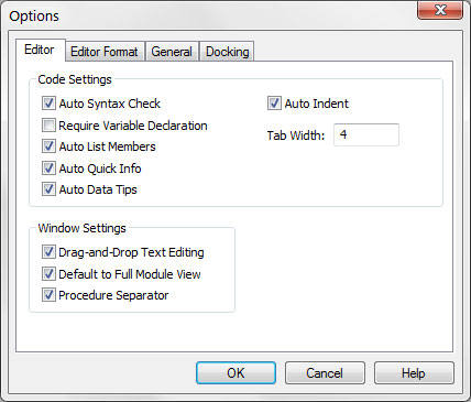 How to Customize the VBA Environment through the Editor Tab