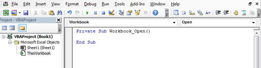 The default Open event for the Worksheet object.