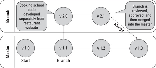 Branching code, making changes, and merging it back to the master version.
