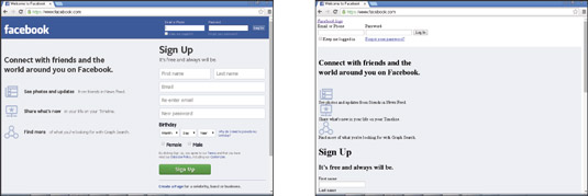 Facebook with CSS (left) and without (right).