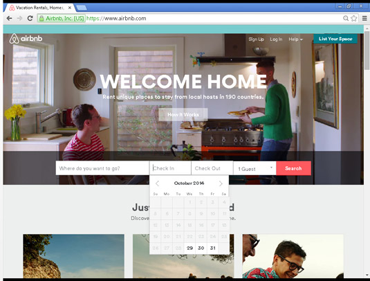 JavaScript can create the date picker found on travel websites.