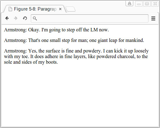 Text displayed in paragraphs using the <span class=