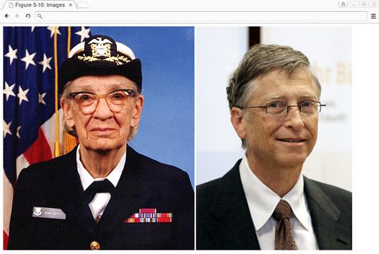 Images of Grace Hopper and Bill Gates rendered using <span class=