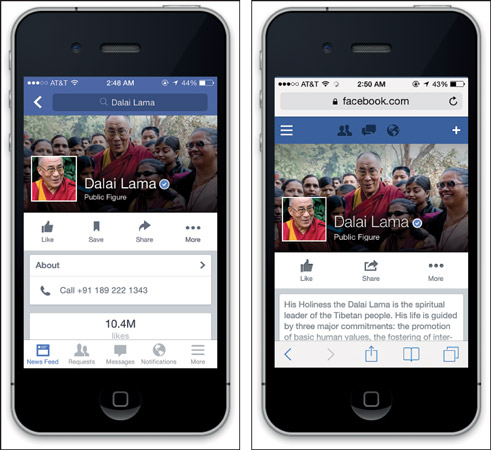 Facebook's native mobile app (left) and mobile web app (right).