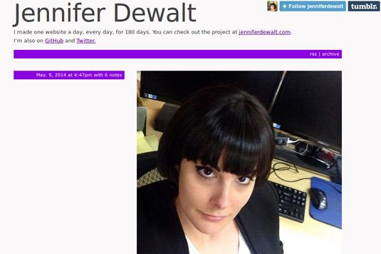 Jennifer Dewalt on day 180 after building her 180th website.