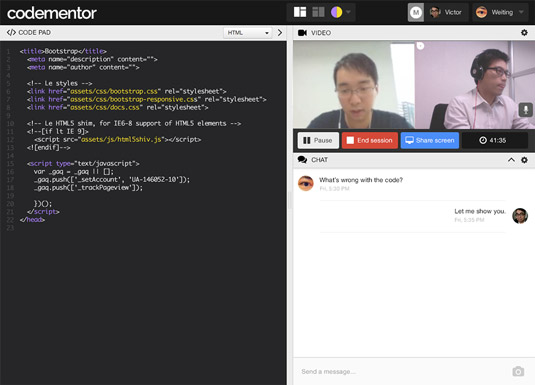Expert coding mentor services provide live video, chat, and screen sharing.