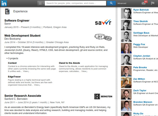 Update your profile to include complete employer history and descriptions.