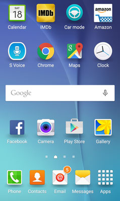 The Home screen for the Samsung Galaxy S6.