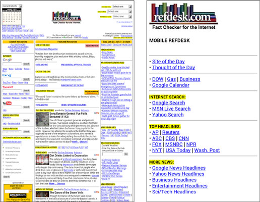 A website and the app version of the main site.