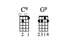 C9 and G9 chord diagrams.