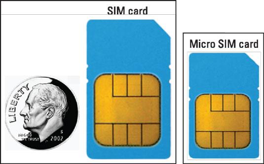 A SIM card and a micro SIM card compared to a dime.