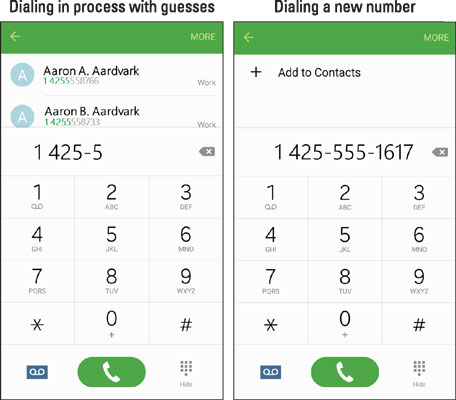 The dialing screens in process and when there is a new number.