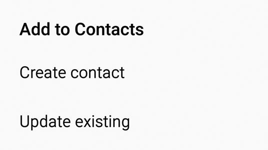 The Add to Contacts pop-up.