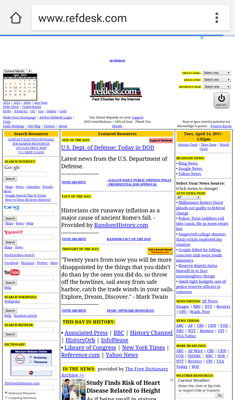 The desktop version of the website Refdesk.com.