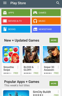 The Play Store Home screen.