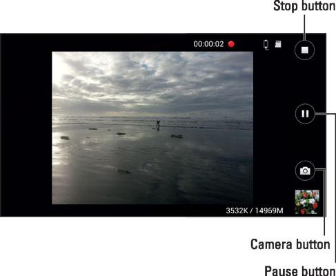 The Samsung Galaxy's camcorder viewfinder.