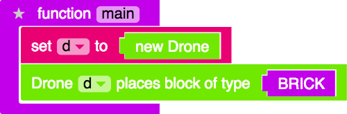 command to place brick block with drone
