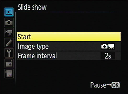 Choose Slide Show to set up automatic playback of pictures and movies.