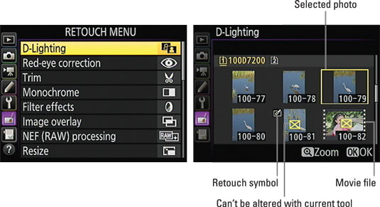 After selecting a Retouch menu option (left), select the photo you want to edit (right).