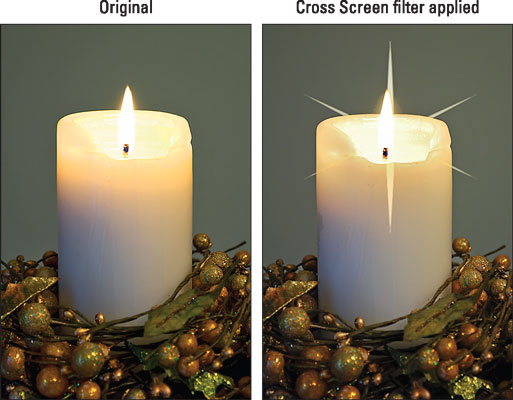 The Cross Screen filter adds a starburst effect to the brightest parts of the photo.