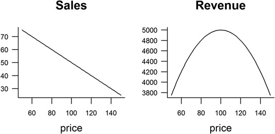 A model of expected sales and revenue.