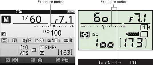 In M exposure mode, the exposure meter appears in the Information display, Control panel, and viewf