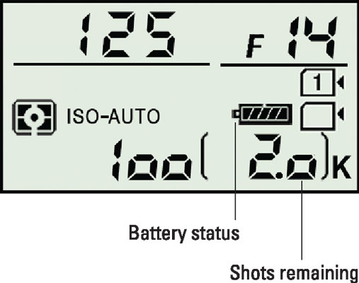 The Control panel displays the shots-remaining value and a symbol representing the battery status.