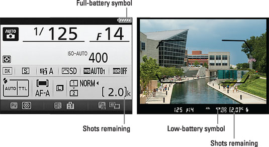 During viewfinder photography, you can verify the shots-remaining value and battery status in these