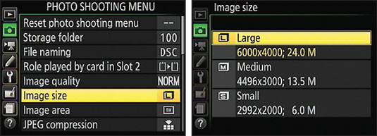 Use the Multi Selector to highlight a menu option (left) and then press OK to display the available