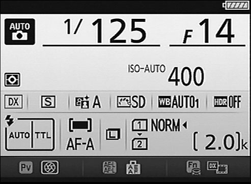 During viewfinder photography, press the Info button to view this screen, called the Information di