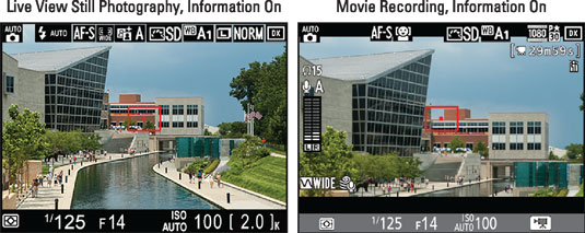 These screens are the defaults for Live View still photography (left) and movie shooting (right).