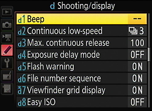 By default, the camera's beeper is disabled, enabling quieter shooting.