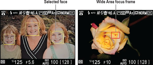 If the camera recognizes faces, you see yellow focus frames over each face (left); otherwise, the r