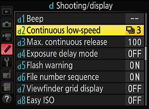 You can modify the maximum frame rate for Continuous Low Release mode.