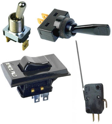 From top to bottom: two toggle switches, a rocker switch, and a leaf switch.