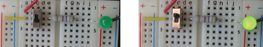 A green LED indicates whether the breadboard is powered up or not.